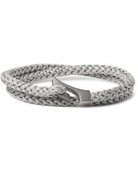 Miansai | Gray Ipsum Woven Rope And Rhodium-plated Wrap Bracelet for Men | Lyst