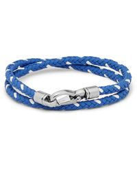 Tod's | Blue Woven Leather Wrap Bracelet for Men | Lyst
