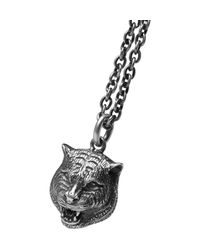 Gucci - Metallic Tiger Burnished-silver Necklace for Men - Lyst