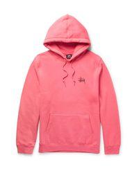 Stussy   Pink Printed Fleece-back Cotton-blend Jersey Hoodie for Men   Lyst