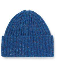 Drake's   Blue Ribbed Donegal Merino Wool Beanie for Men   Lyst