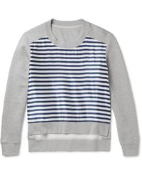 Burberry | Gray Runway Cotton-blend Jersey And Striped Silk-blend Sweatshirt for Men | Lyst