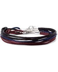 Rubinacci - Blue Set Of Three Silk Silver-tone Bracelets for Men - Lyst