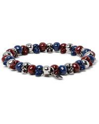 Alexander McQueen - Blue Skull Silver-tone Beaded Bracelet for Men - Lyst