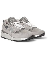 New Balance - Gray 998 Suede, Textured-leather And Mesh Sneakers for Men - Lyst