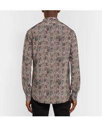 Saint Laurent Pink Grandad-collar Printed Silk Crepe De Chine Shirt for men