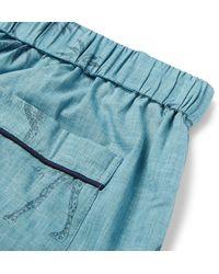 Desmond & Dempsey - Blue Printed Cotton Pyjama Trousers for Men - Lyst