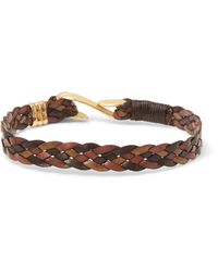 Paul Smith - Brown Woven Leather Gold-tone Bracelet for Men - Lyst