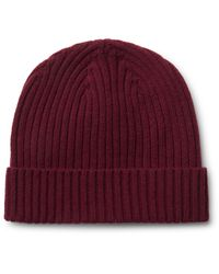 Officine Generale - Red Ribbed Merino Wool Beanie for Men - Lyst