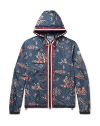Moncler | Blue Anton Slim-fit Webbing-trimmed Printed Shell Hooded Jacket for Men | Lyst