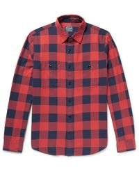 J.Crew - Red Slim-fit Buffalo-checked Cotton-flannel Shirt for Men - Lyst