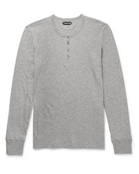Tom Ford - Gray Slim-fit Cotton-jersey Henley T-shirt for Men - Lyst