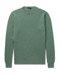 Incotex   Green Textured-knit Virgin Wool Sweater for Men   Lyst