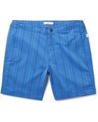Onia | Blue Calder Mid-length Striped Swim Shorts for Men | Lyst