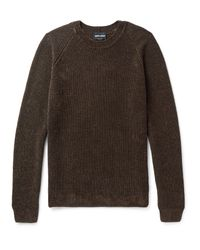Giorgio Armani | Brown Mélange Ribbed-knit Sweater for Men | Lyst