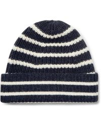 The Workers Club - Blue Striped Merino Wool Beanie for Men - Lyst