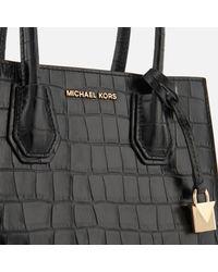 MICHAEL Michael Kors - Black Mercer Croc Medium Messenger Bag - Lyst