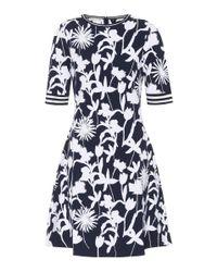 Oscar de la Renta - Blue Floral Jacquard Dress - Lyst