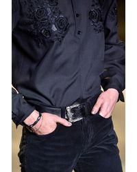 Saint Laurent - Black Celtic Leather Belt - Lyst