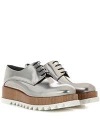 Jil Sander - Metallic Platform Leather Derby Shoes - Lyst