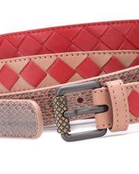 Bottega Veneta - Red Intrecciato Snakeskin-trimmed Belt - Lyst