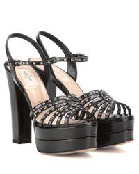 Valentino Black Garavani Embellished Leather Platform Sandals