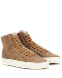 Common Projects - Brown Tournament Shearling Sneakers for Men - Lyst