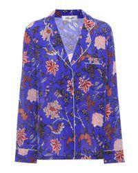 Diane von Furstenberg - Blue Printed Silk Top - Lyst