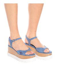 Stella McCartney - Blue Elyse Platform Denim Sandals - Lyst
