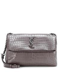 Saint Laurent - Gray Monogram Embossed Leather Shoulder Bag - Lyst