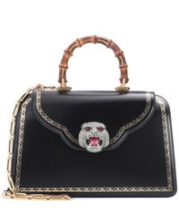 Gucci Frame Embellished Leather Tote in Black - Lyst db05acea55a39