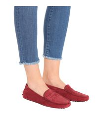 Tod's - Red Gommino Suede Loafers - Lyst
