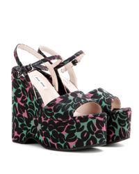Miu Miu - Black Jacquard Wedge Sandals - Lyst