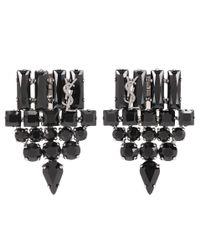 Saint Laurent - Black Crystal-embellished Clip-on Earrings - Lyst