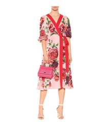 Dolce & Gabbana - Red Floral-printed Silk Midi Dress - Lyst