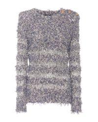 Balmain - Blue Cotton-blend Sweater - Lyst