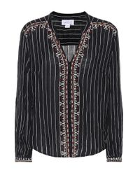 Velvet - Black Remi Embellished Striped Shirt - Lyst