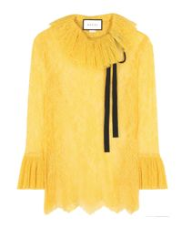 Gucci - Yellow Lace Top - Lyst