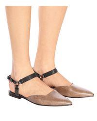 Brunello Cucinelli - Brown Leather Sandals - Lyst
