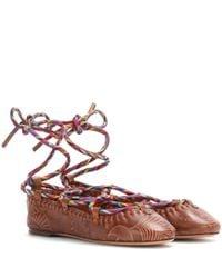 Valentino - Brown Garavani Santeria Leather Ballerinas - Lyst