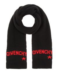 Givenchy - Black Knitted Wool Scarf - Lyst