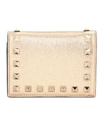 Valentino - Garavani Rockstud Metallic Leather Wallet - Lyst
