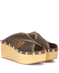 Isabel Marant - Brown Zipla Suede And Wood Sandals - Lyst
