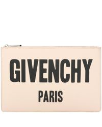 Givenchy - Black Iconic Print Printed Leather Clutch - Lyst