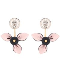 Marni - Pink Floral Leather Earrings - Lyst