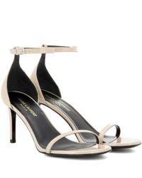 Saint Laurent - Natural Jane 80 Patent Leather Sandals - Lyst