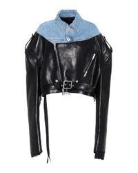 Unravel - Black Leather And Denim Jacket - Lyst