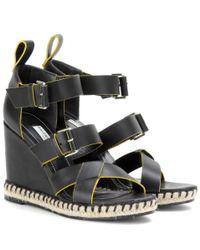 Balenciaga | Black Leather Wedge Sandals | Lyst