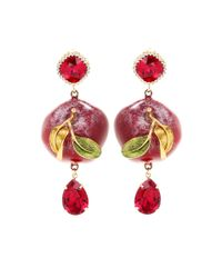 Dolce & Gabbana | Red Crystal-embellished Clip-on Earrings | Lyst