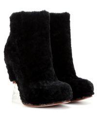 Fendi   Black Fur Wedge Ankle Boots   Lyst